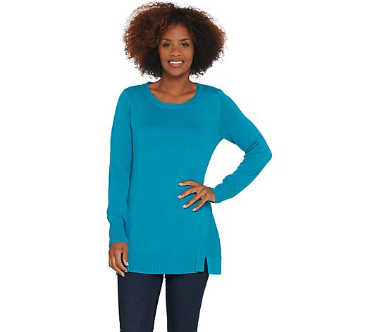 H by Halston Crew-Neck Tunic Sweater with Forward Notch Detail