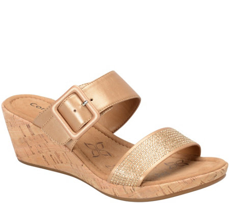 Comfortiva by Softspots Slide Wedge Sandals - Sherry