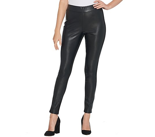 BROOKE SHIELDS Timeless Petite Faux Leather Ponte Back Leggings