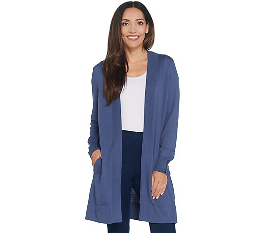 Denim & Co. Essentials Ribbed Trim Cardigan with Button Detail