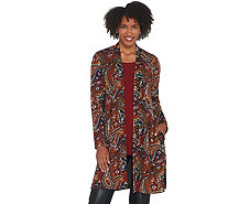 Susan Graver Petite Novelty Knit Duster and Knit Tank Set - A345135