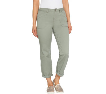 """As Is"" LOGO by Lori Goldstein Stretch Twill Boyfriend Pant w/Roll Cuff"