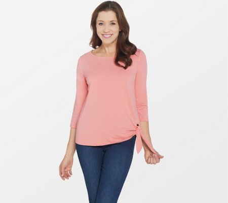 Belle by Kim Gravel TripleLuxe Knit 3/4-Sleeve Grommet T-Shirt