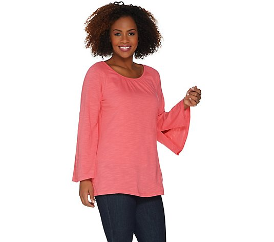 """As Is"" Belle by Kim Gravel Slub Knit Belle Sleeve Tunic"