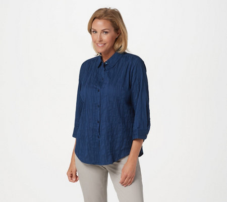 Joan Rivers 3/4-Sleeve Textured Button Front Shirt