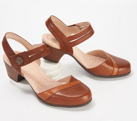 ee1d583ebe3 Clarks Collection Leather Heeled Mary Janes - Valarie Rally — QVC.com