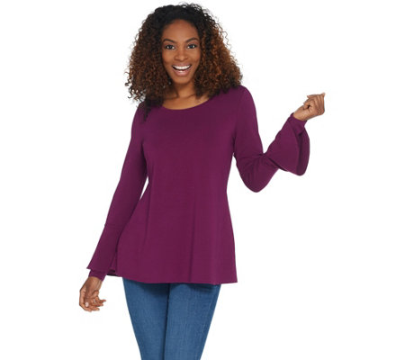 """As Is"" Isaac Mizrahi Live! Scoop Neck Tunic with Bell Sleeve Detail"