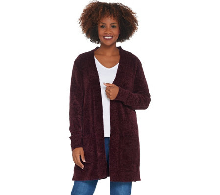 As Is Denim Co Regular Chenille Long Sleeve Open Front Cardigan
