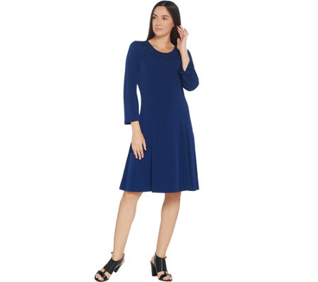 """As Is"" Susan Graver Artisan Liquid Knit Dress with Beaded Applique"