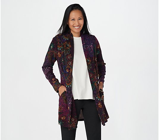 Susan Graver Printed Brushed Sweater Knit Cardigan