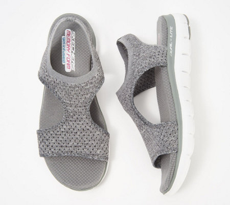 """As Is"" Skechers Knit Cutout Sport Sandals-Deja Vu"