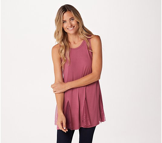 LOGO Layers by Lori Goldstein Knit Tank with Lace Panels