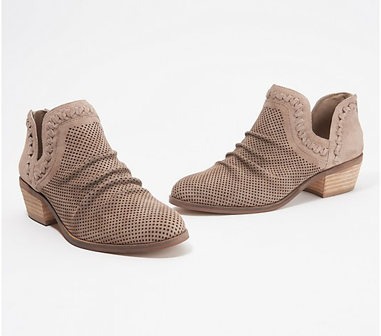 """As Is"" Vince Camuto Perforated Suede Ankle Booties-Palmina"