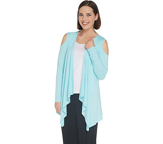 """As Is"" Joan Rivers Jersey Knit Draped Front Cardigan Cold Shoulder"