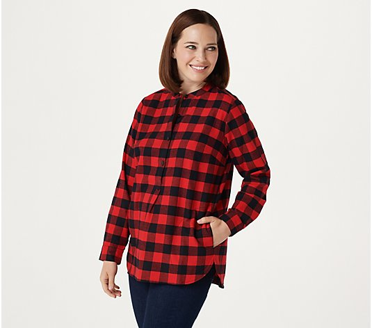 """As Is"" Joan Rivers Buffalo Check Shirt with Back Button Detail"