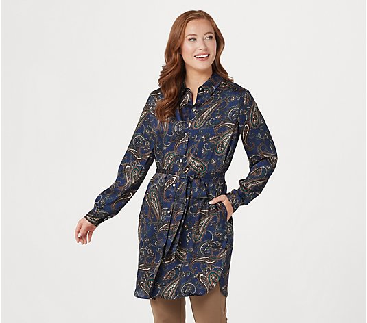 """As Is"" Susan Graver Regular Printed Woven Button-Front Duster w/ Belt"