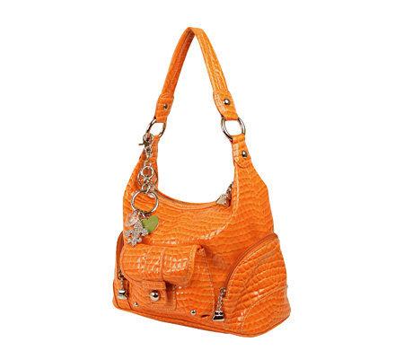Kathy Van Zeeland Croco Embossed Zip Top Hobo Bag