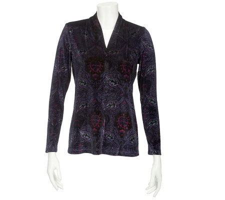 Linea by Louis Dell'Olio Printed Velvet V-neck Top w/Ruching