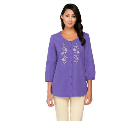 Denim & Co. 3/4 Sleeve Gauze Shirt with Floral Embroidery