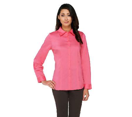 Susan Graver Stretch Woven Long Sleeve Button Front Shirt