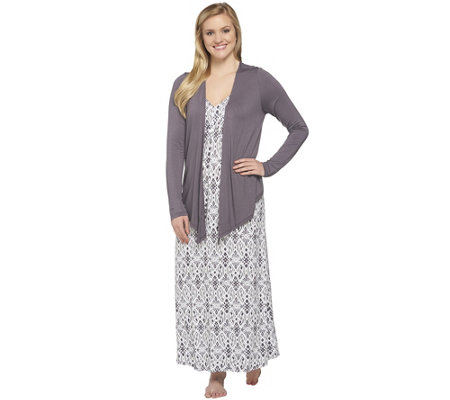 Carole Hochman Petite Sumi Ikat Gown and Jacket Lounge Set