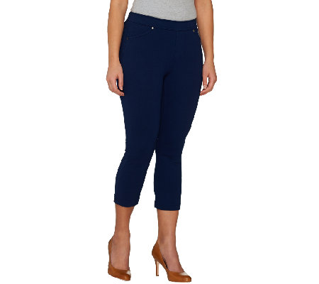 Susan Graver Weekend French Knit Pull-On Capri Jeggings