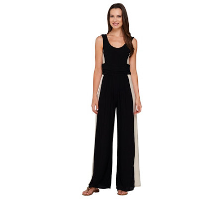 Attitudes by Renee Wide Leg Color-Block Knit Jumpsuit