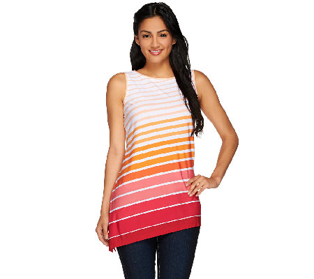 Susan Graver Striped Liquid Knit Asymmetrical Hem Tunic