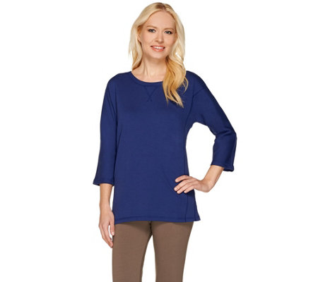 Denim & Co. Essentials 3/4 Sleeve Scoopneck Top w/ Side Slits