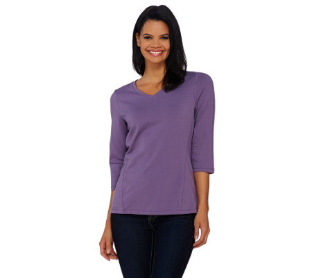 Denim & Co. Essentials V-Neck 3/4 Sleeve Top w/ Seaming Detail