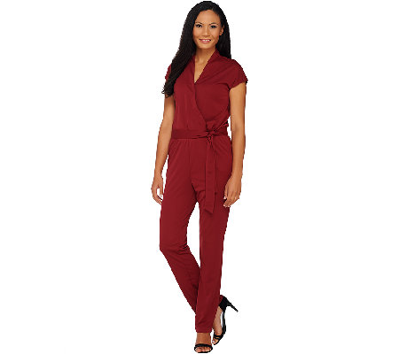 H by Halston Regular Knit Wrap Style Jumpsuit with Tie Waist