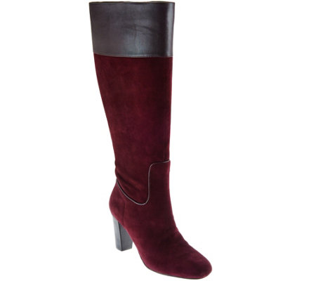 Isaac Mizrahi Live! Suede Tall Shaft Boots with Heel