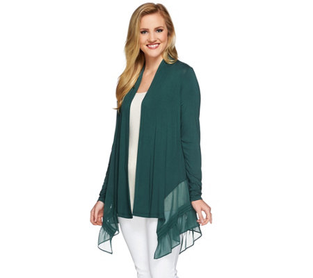 LOGO by Lori Goldstein Regular Knit Cardigan with Pleated Chiffon