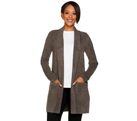 44465190052e Barefoot Dreams Cozychic Lite Essential Long Cardi with Pockets ...