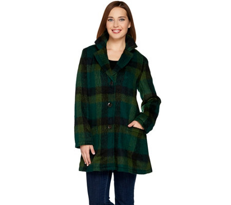 LOGO by Lori Goldstein Plaid Coat with Patch Pockets