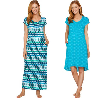 Carole Hochman Petite Kaleidoscope & Ikat Gown and Sleepshirt Set