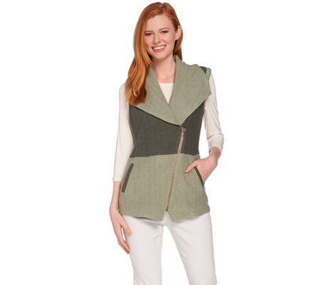 Lisa Rinna Collection French Terry Color-Block Vest