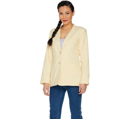 Peace Love World Linen Blend Blazer w/ Raw Edge Details