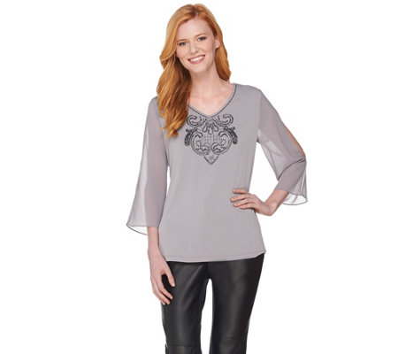 """As Is"" Susan Graver Artisan Liquid Knit Top with Sheer Sleeves"