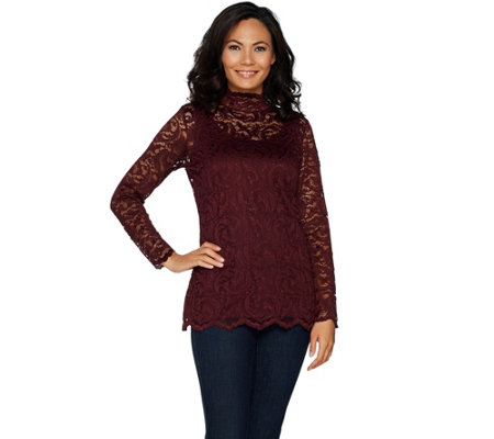 Isaac Mizrahi Live! Stretch Scroll Lace Mock Neck Tunic