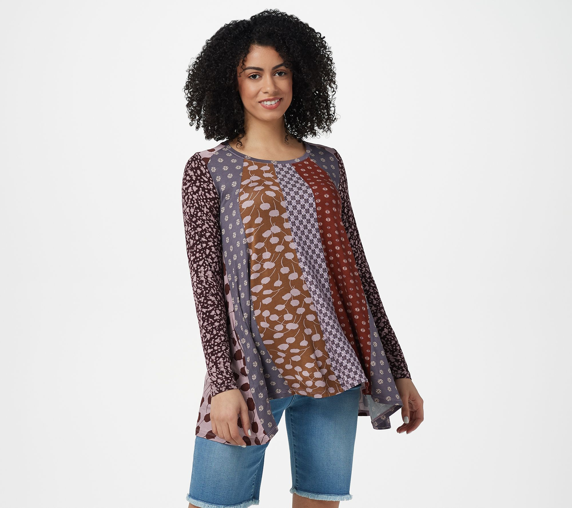 LOGO by Lori Goldstein Women/'s XX-Small 3//4 Sleeve Floral Animal Print Knit Top