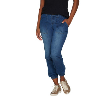 Peace Love World Denim Jogger With Zip Front Closure