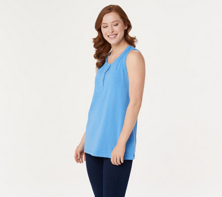 Denim & Co. Essentials Sleeveless Textured Knit Henley Top