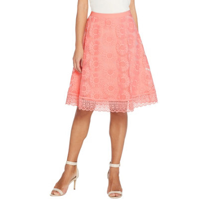 Isaac Mizrahi Live! Floral Mesh Skirt with Lace Border