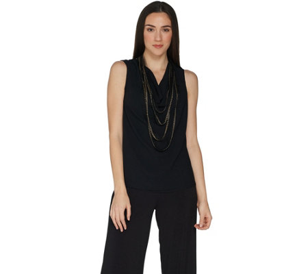 BROOKE SHIELDS Timeless Sleeveless Chiffon Top w/ Chain Detail
