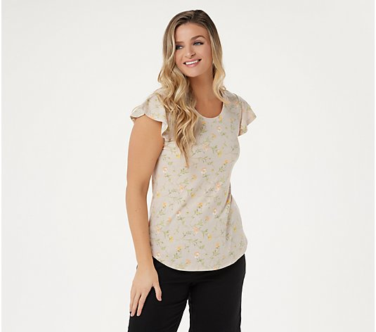 Isaac Mizrahi Live! TRUE DENIM Ditsy Floral Knit Top