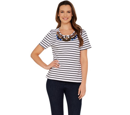 BROOKE SHIELDS Timeless Short Sleeve Striped Knit Embellished Tee