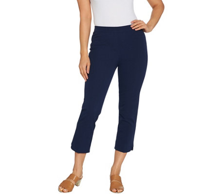 Isaac Mizrahi Live! Regular 24/7 Stretch Crop Pants w/ Hem Detail