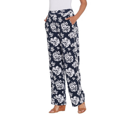 Dennis Basso Caviar Crepe Printed Wide Leg Pull-On Pants