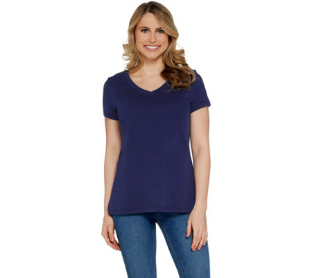 Isaac Mizrahi Live! Essentials Pima Cotton V-Neck T-Shirt